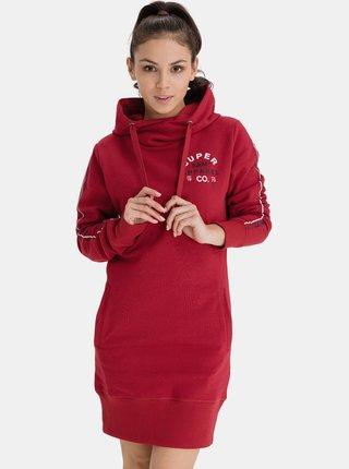 Červené dámské mikinové šaty s kapucí SAM 73
