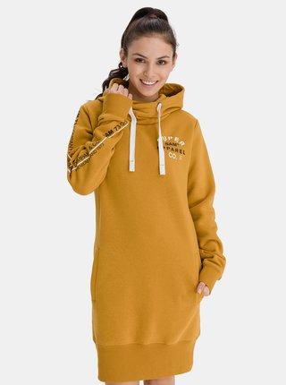 Hořčicová dámské mikinové šaty s kapucí SAM 73