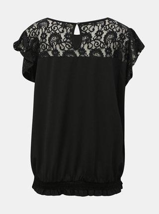 Černá halenka s krajkovými detaily ONLY CARMAKOMA Fine