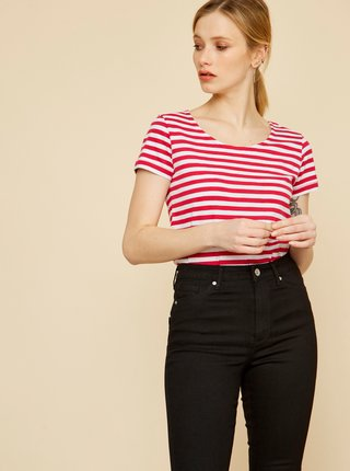 Bielo-ružové dámske pruhované tričko ZOOT Baseline Amber