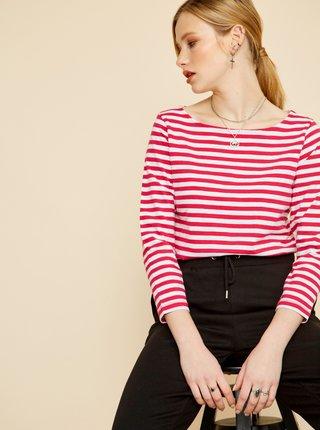 Bielo-ružové dámske pruhované tričko ZOOT Baseline Amina