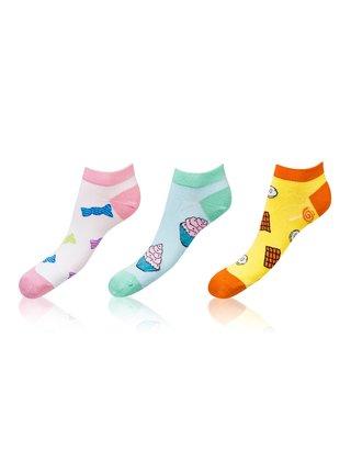 Kotníkové zábavné ponožky CRAZY IN-SHOE SOCKS 3 páry - Zábavné nízké crazy ponožky unisex v setu 3 páry - pink - light green - yellow