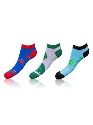 Kotníkové zábavné ponožky CRAZY IN-SHOE SOCKS 3 páry - Zábavné nízké crazy ponožky unisex v setu 3 páry - modrá - šedá - světle modrá