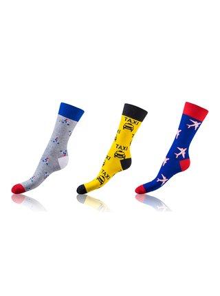 Zábavné ponožky CRAZY SOCKS 3 páry - Zábavné crazy ponožky 3 páry - šedá - žlutá - modrá