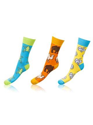 Zábavné ponožky CRAZY SOCKS 3 páry - Zábavné crazy ponožky 3 páry - světle modrá - oranžová - žlutá