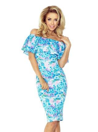 Dámské šaty 138-5 - Numoco modrá - květy