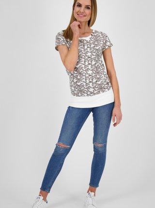 Hnědo-bílé dámské vzorované dlouhé tričko Alife and Kickin