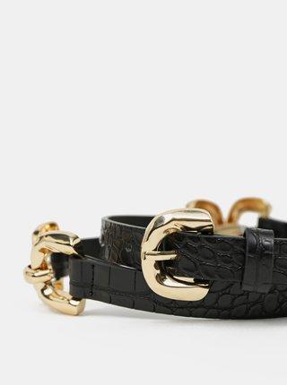Černý pásek s krokodýlím vzorem Pieces
