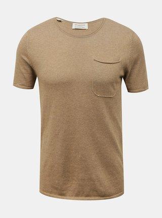 Béžové basic tričko s příměsí lnu Selected Homme