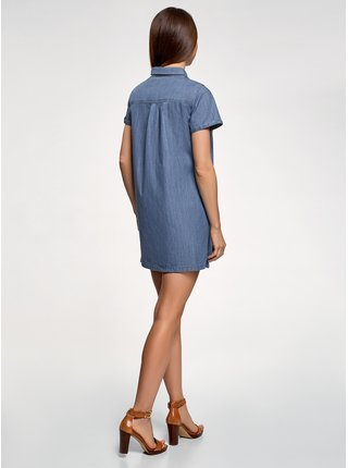 Šaty džínové a kapsičkou na prsou OODJI