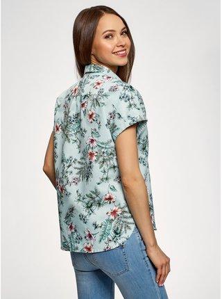 Košile rovného střihu s krátkým rukávem OODJI