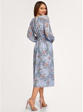 Šaty ze splývavé látky se zavazováním OODJI