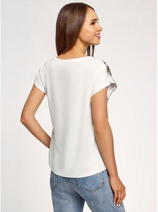 Tričko z kombinovaného materiálu s potiskem OODJI