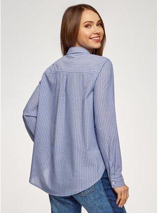 Košeľa bavlnená rovného strihu OODJI