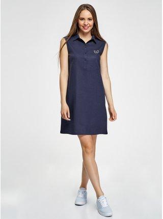 Šaty rovné s límečkem OODJI