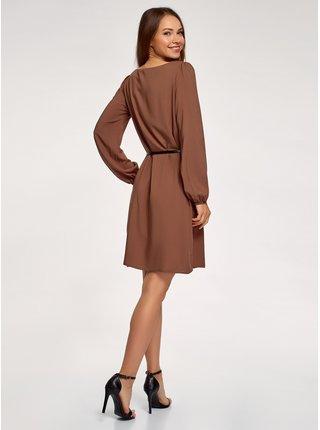 Šaty z viskózy s páskem OODJI