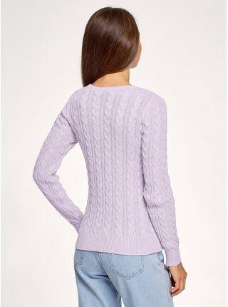Pulovr pletený s výraznou texturou s copánky OODJI