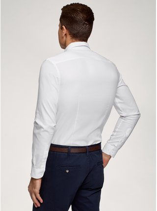 Košile bavlněná s kapsičkou na prsou OODJI