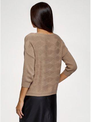 Pulovr pletený s výraznou texturou s lurexem OODJI