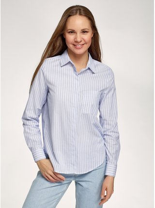 Košile bavlněná pruhovaná OODJI