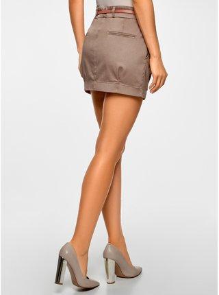 Sukně krátká bavlněná s páskem OODJI