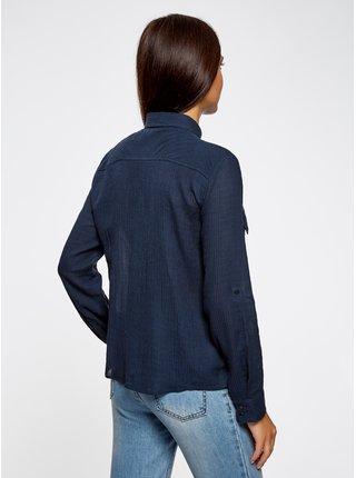 Košile s drobným vzorkem s kapsami OODJI