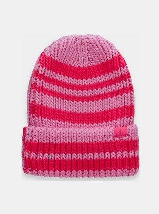 Dámská zimní čepice 4FCAD158 Hot Růžová