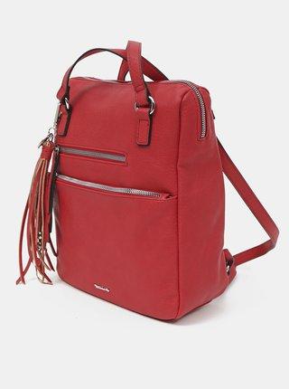 Červená kabelka/batoh s ozdobným strapcom Tamaris