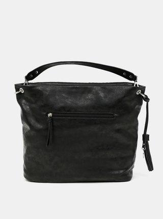 Čierna prešívaná veľká kabelka s ozdobným strapcom Tamaris