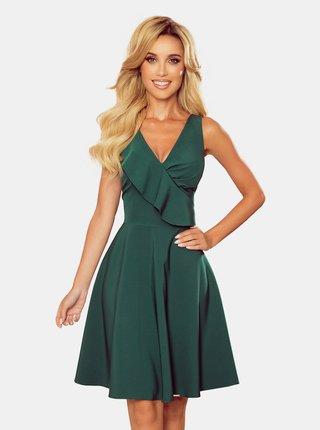 Tmavě zelené šaty s volánem numoco