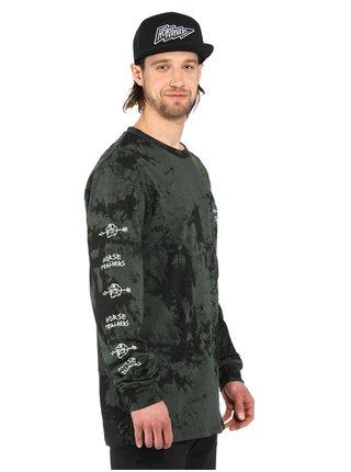 Horsefeathers SHAFT gray tie dye pánské triko s dlouhým rukávem