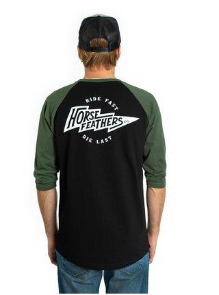 Horsefeathers FLASH olive pánské triko s dlouhým rukávem - černá