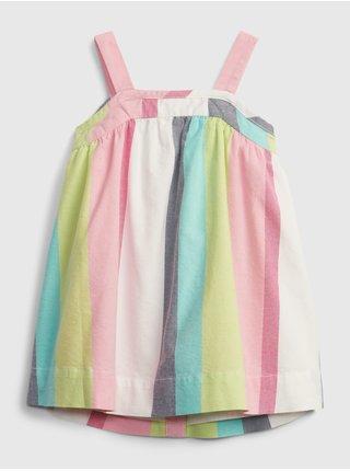 Barevné holčičí baby šaty stripe button dress