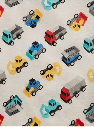 Béžové klučičí dětské pyžamo babygap organic truck graphic pj set