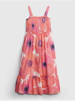 Růžové holčičí dětské šaty floral midi dress