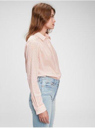 Růžová dámská košile pleated popover top