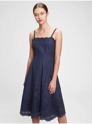 Modré dámské šaty squareneck eyelet midi dress