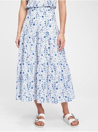 Modrá dámská sukně tiered maxi skirt