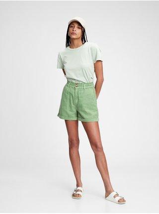 Kraťasy high rise paperbag shorts Zelená