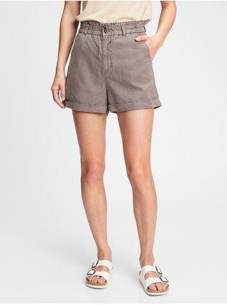 Šedé dámské kraťasy high rise paperbag shorts