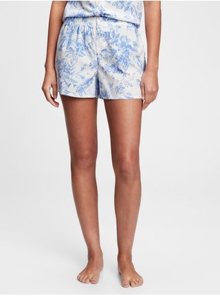 Modré dámské pyžamo vé kraťasy poplin shorts