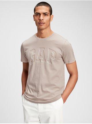 Béžové pánské tričko GAP Logo raised arch t