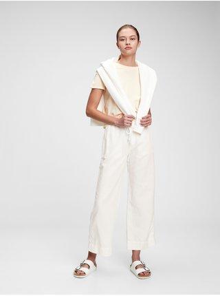 Bílé dámské kalhoty high rise wide-leg pants in linen-cotton