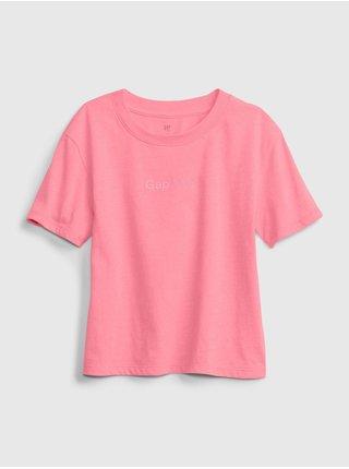 Růžové holčičí dětské tričko knit t-shirt