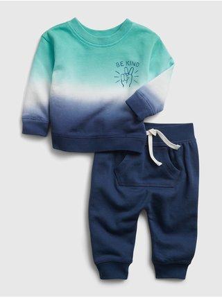 Modrá klučičí baby teplákovka dip-dye outfit set