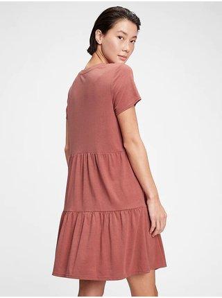 Cihlové dámské šaty tiered dress