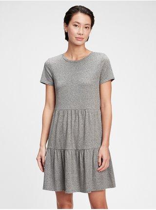 Šedé dámské šaty tiered dress