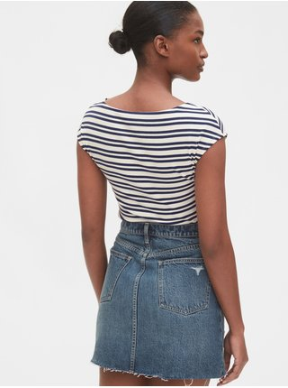 Modré dámské tričko modern boatneck striped