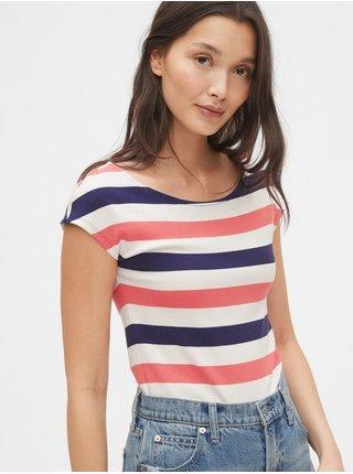 Barevné dámské tričko modern boatneck striped