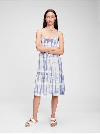Modré dámské šaty racerback tiered midi dress